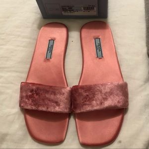 Prada crushed velvet slides size 7.5